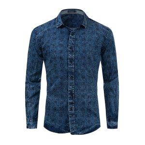 Мужская джинсовая рубашка с пуговицами SHEIN. Цвет: синий