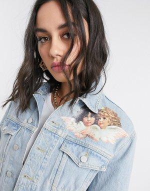 Джинсовая куртка с принтом ангелов в винтажном стиле -Синий Fiorucci