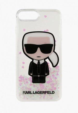 Чехол для iPhone Karl Lagerfeld 7 Plus / 8 Plus, Liquid glitter Iconik Transp (glow in the dark). Цвет: прозрачный