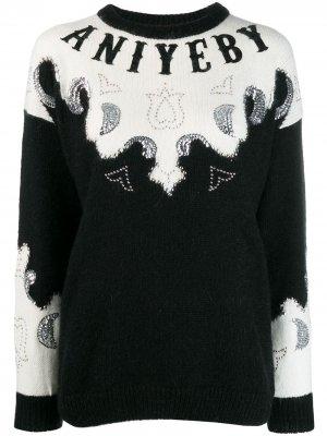 Декорированный свитер с логотипом Aniye By. Цвет: черный