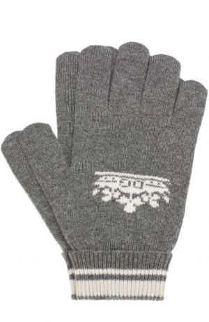 Кашемировые вязаные перчатки Dolce & Gabbana. Цвет: серый