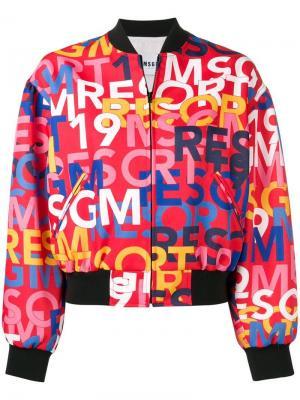 Куртка-бомбер с логотипом MSGM. Цвет: красный