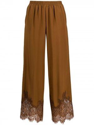 Lace-trim silk trousers Gold Hawk. Цвет: коричневый