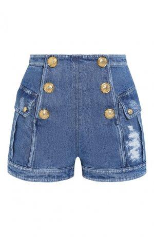 Джинсовые шорты Balmain. Цвет: синий