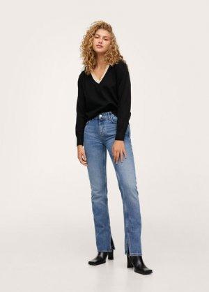 Пуловер с контрастной горловиной - Honesty Mango. Цвет: черный