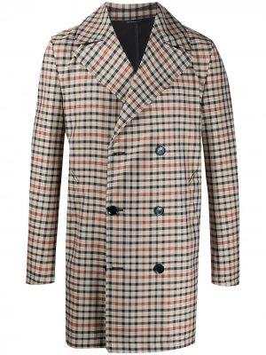 Двубортное пальто в клетку Grey Daniele Alessandrini. Цвет: нейтральные цвета
