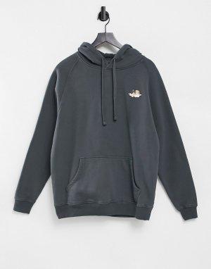Худи угольно-серого цвета с логотипом в виде ангелов от комплекта -Черный цвет Fiorucci