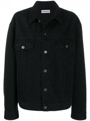 Джинсовая куртка с логотипом из страз BALENCIAGA. Цвет: черный