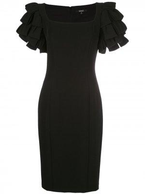 Приталенное платье с оборками на рукавах Badgley Mischka. Цвет: черный