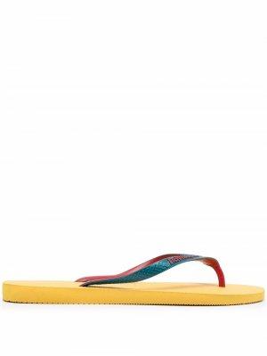 Шлепанцы в стиле колор-блок с логотипом Havaianas. Цвет: желтый