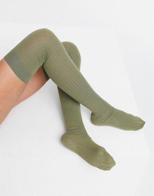 Гольфы выше колена в рубчик цвета хаки -Зеленый цвет ASOS DESIGN