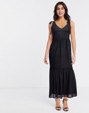 Черное платье на завязках -Черный цвет Gestuz