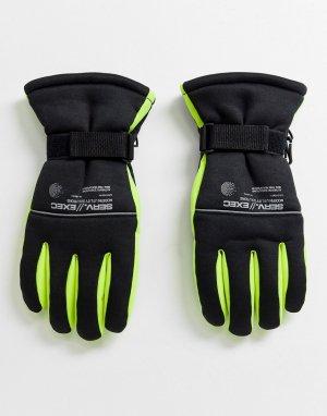 Черные перчатки с неоновыми вставками -Черный ASOS DESIGN