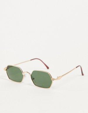 Круглые маленькие солнцезащитные очки унисекс в золотистой оправе Micro-Золотистый AJ Morgan