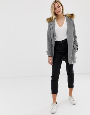 Пальто с большими карманами и искусственным мехом на капюшоне Naf Naf-Серый