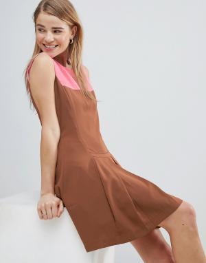 Платье с контрастной кокеткой и складками -Коричневый Louche