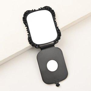 Складное ручное зеркало для макияжа SHEIN. Цвет: чёрный