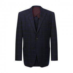 Шерстяной пиджак Luciano Barbera. Цвет: синий