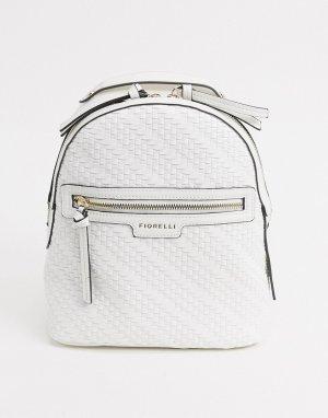 Кремовый рюкзак с фактурой плетения Anouk-Белый Fiorelli