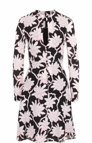 Шелковое платье-миди с завышенной талией и принтом Valentino. Цвет: черный