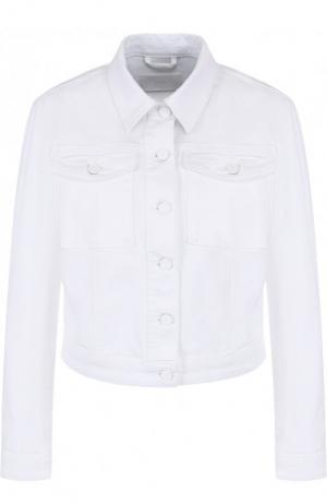 Однотонная джинсовая куртка прямого кроя BOSS. Цвет: белый