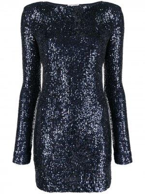 Платье с длинными рукавами и пайетками Saint Laurent. Цвет: синий