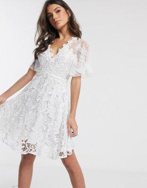 Белое кружевное платье мини -Белый Forever U