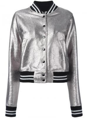 Куртка-бомбер с отделкой металлик R13. Цвет: металлический