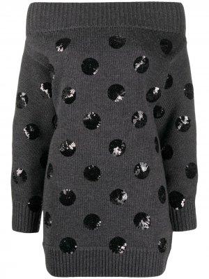 Вязаное платье с открытыми плечами и пайетками Monse. Цвет: серый