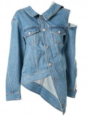 Джинсовая куртка с вырезной деталью на плече Ground Zero. Цвет: синий