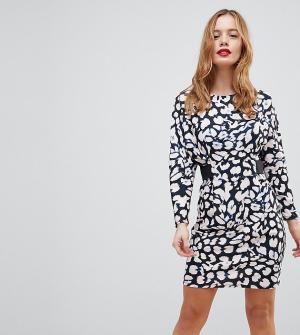 Платье мини с эластичной талией и леопардовым принтом ASOS PETITE. Цвет: мульти
