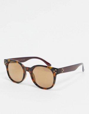 Солнцезащитные очки в круглой черепаховой оправе -Коричневый AJ Morgan