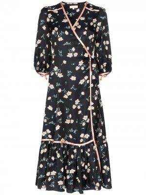 Платье с запахом и цветочным принтом byTiMo. Цвет: черный