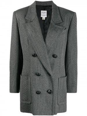 Двубортное пальто Céline Pre-Owned. Цвет: серый