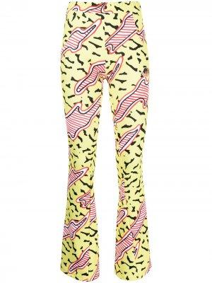 Расклешенные брюки Memphis с графичным принтом Fiorucci. Цвет: желтый