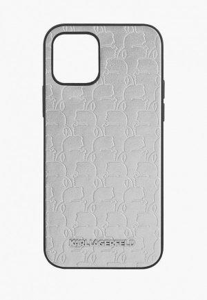 Чехол для iPhone Karl Lagerfeld 12/12 Pro (6.1), PU Kameo embossed Metal logo Silver. Цвет: серый