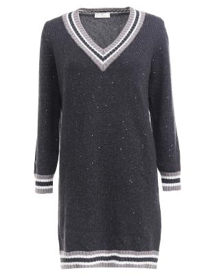 Удлиненный пуловер с пайетками Panicale. Цвет: серый