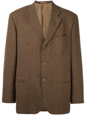 Пиджак в клетку Prince of Wales Romeo Gigli Vintage. Цвет: коричневый