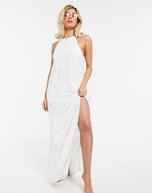 Белое пляжное платье макси в полоску -Белый Tavik