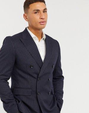 Приталенный двубортный пиджак в тонкую полоску -Темно-синий Gianni Feraud