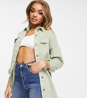 Шалфейно-зеленая джинсовая куртка-рубашка -Зеленый цвет Noisy May Petite