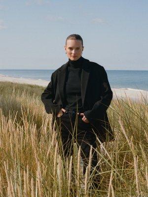 Пальто-пиджак из шерсти 12STOREEZ. Цвет: черный
