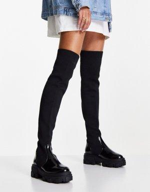 Черные ботфорты на массивной плоской подошве Kimmy-Черный цвет ASOS DESIGN