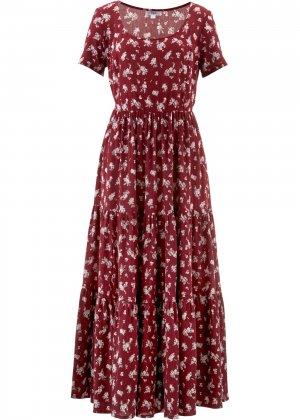 Платье с коротким рукавом bonprix. Цвет: красный