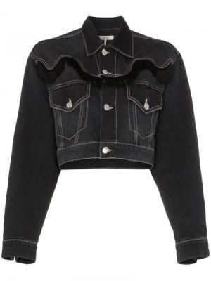 Укороченная джинсовая куртка Rienzi с бахромой Ganni. Цвет: черный