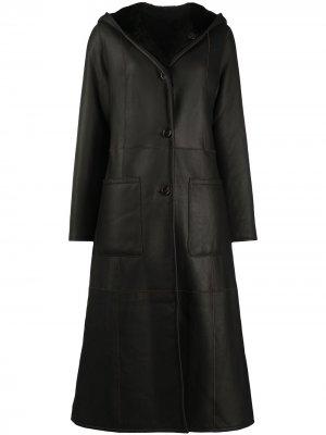 Двустороннее пальто с капюшоном Liska. Цвет: коричневый