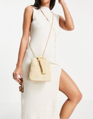 Бежевая плетеная сумка с ремешком в виде петельки -Светло-бежевый French Connection