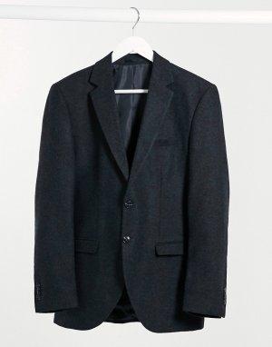 Пиджак приталенного кроя из шерсти серого цвета в елочку Premium-Серый Jack & Jones