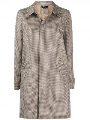 Клетчатое пальто с потайной застежкой на пуговицы A.P.C.. Цвет: нейтральные цвета