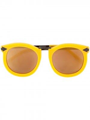 Солнцезащитные очки Super Lunar Karen Walker. Цвет: желтый